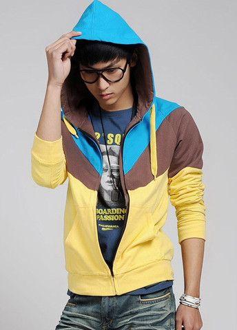 Trendy Zip Closure Long Sleeve Yellow Hoodies – teeteecee - fashion in style