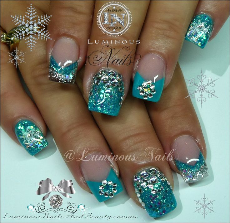 Luminous Nails: Turquoise & Silver Nails With Bling