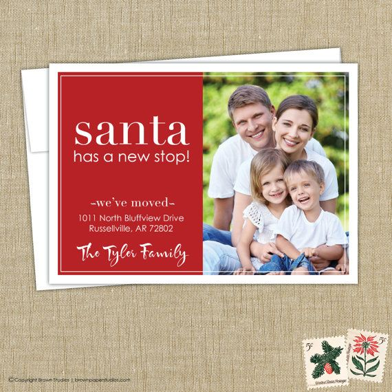 Christmas moving announcement, we've moved. Santa has a new stop. photo card