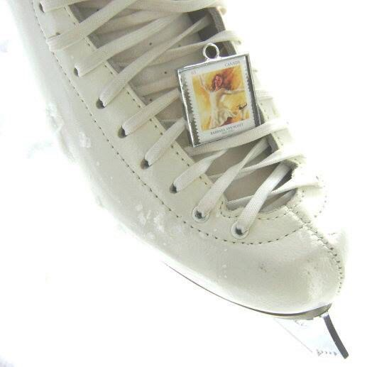 Genuine postage stamp glass pendant or ornament for the skater