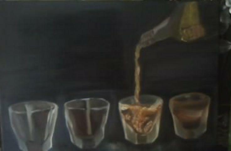 Glasses. Oil on canvas by Litsa Raftopoulou