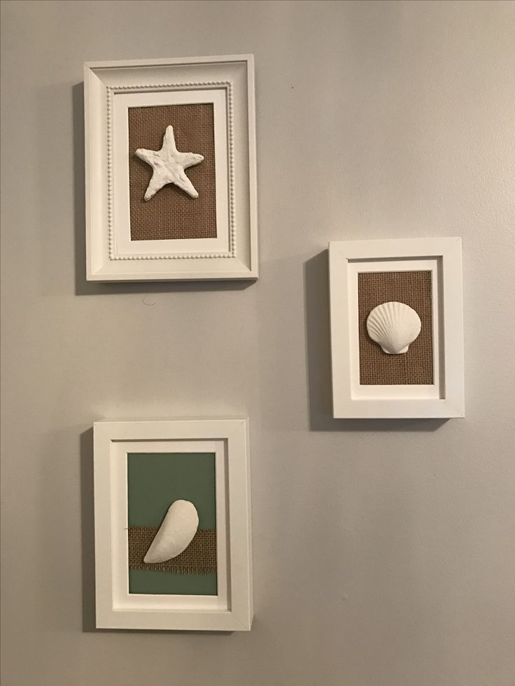 Ikea frames with jute and sea shells from ikea