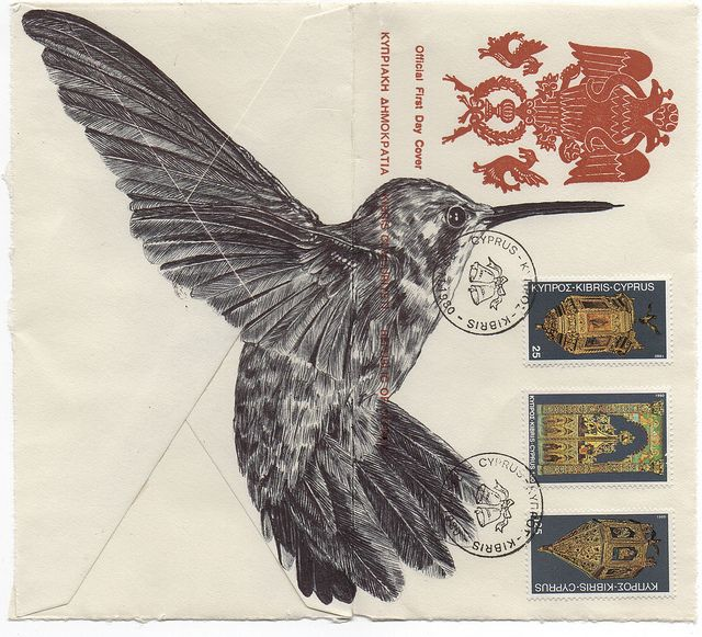 Bic Biro drawing on a vintage envelope. by mark powell bic biro drawings, via Flickr