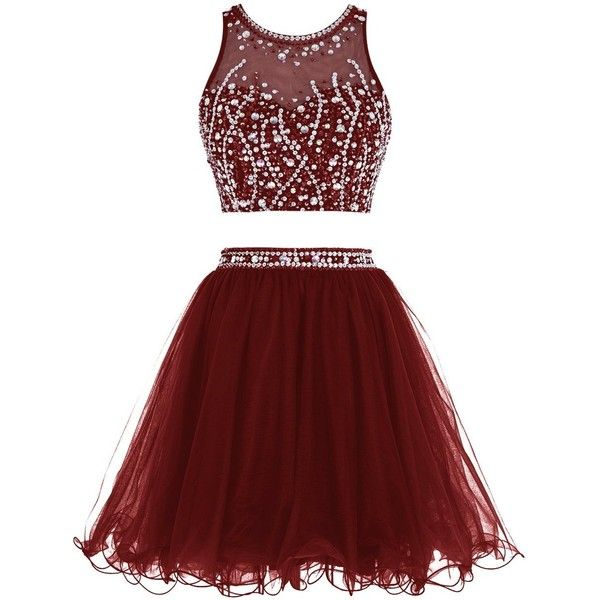 Tideclothes Short Beading Prom Dress Two Pieces Tulle Homecoming Dress ($75) ❤ liked on Polyvore featuring dresses, two piece, two piece prom dresses, red dress, 2 piece prom dresses, two-piece cocktail dresses and prom dresses