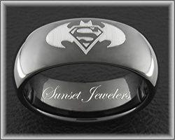 Superman & Batman Symbol Laser Engraved on a Black Tungsten Carbide Wedding Ring. Free Inside Engraving and Shipping