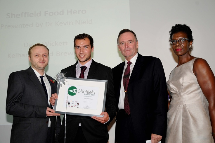 Sheffield food Hero  Awarded to the late Dave Wickett, Kelham Island Brewery, presented by Dr Kevin Nield, SBS, collected by Ed Wickett