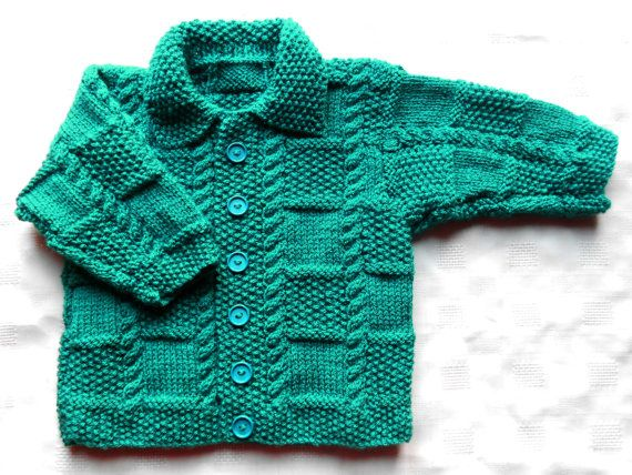 Baby boy sweater in teal hand knit by BabycraftCindy on Etsy, $19.20