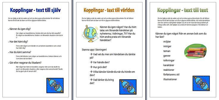Tre olika sorters kopplingar som kan vara ett stöd i elevernas läsning. Informationskartor.