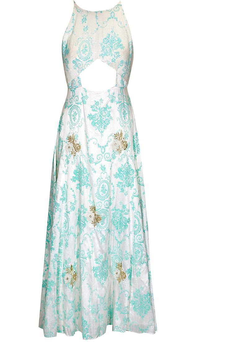 Teal print rose embroidered midriff cut away anarkali set available only at Pernia's Pop Up Shop.