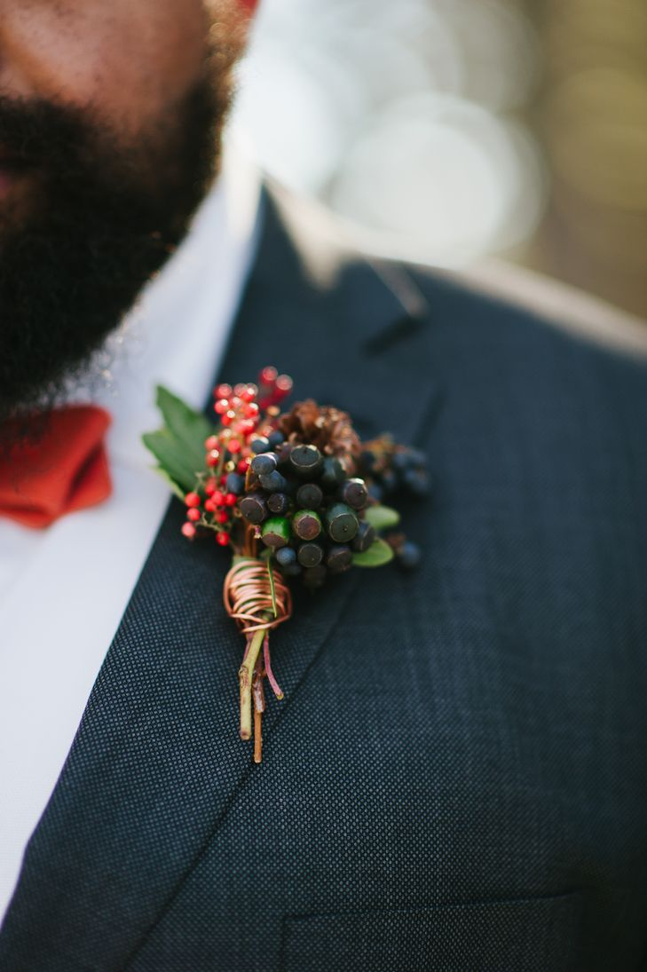 Berry and Holly Sprig Boutonniere | Photo: Rebekah J. Murray Photography