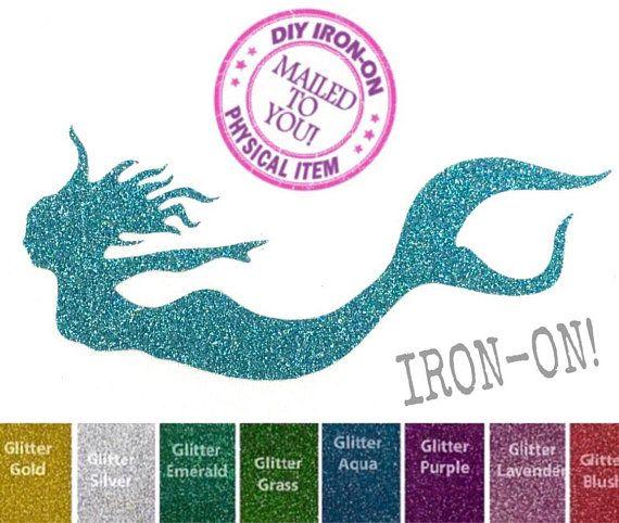 Personalised MERMAID Iron On Vinyl//Glitter vinyl Transfer