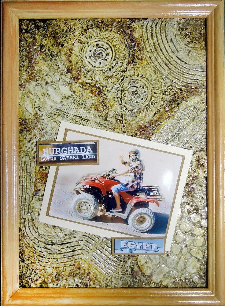 Декорирование странички с фото  - дочка на сафари (Египет). Фон выполнен в технике микс-медиа (структурная паста, многослойная цветовая гамма),фактурная бумага, деревянная рамочка для фото в тон фону.   Размер А4.