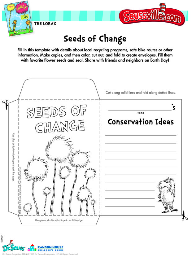 Seussville-Parents... earthday seeds of  change printable ▶