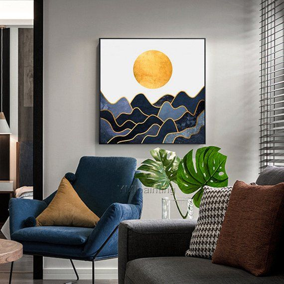 Original art modern wave Abstract acrylic painting on canvas impression art Gold painting texture full moon Wall pictures cuadros abstractos