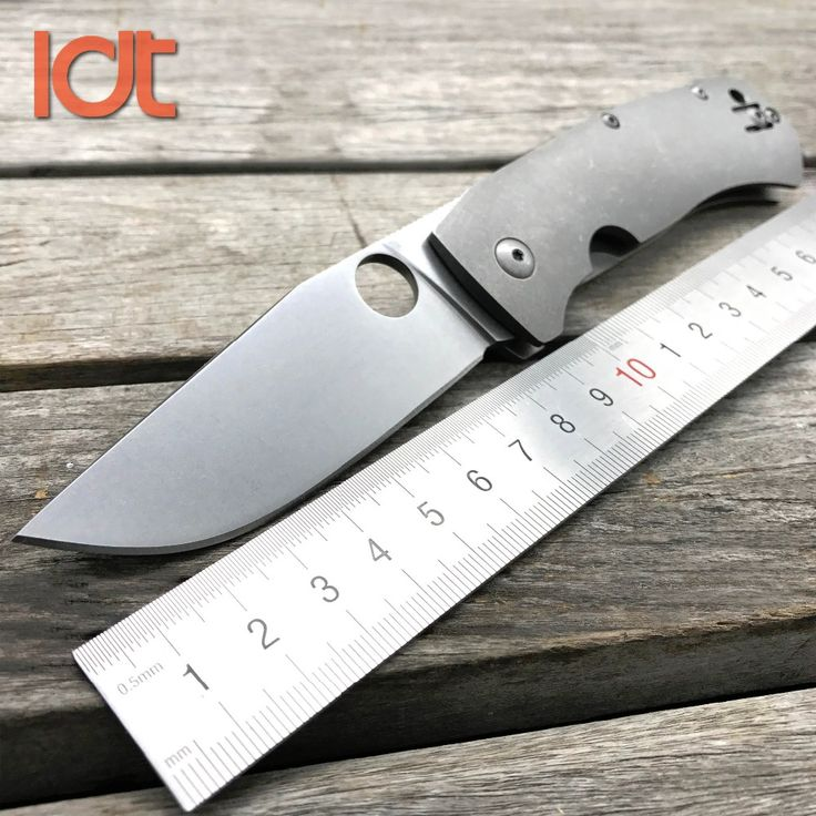 LDT C186 BOWIE Folding Blade Knife Stone Wash D2 Blade Titanium Handle Hunting Tactical Knives Camping Outdoor Knife EDC Tools
