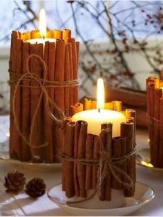 THANKSGIVING: a great centerpiece idea so you can use an unscented soy candle (safer to breathe!) and still get a great smell!