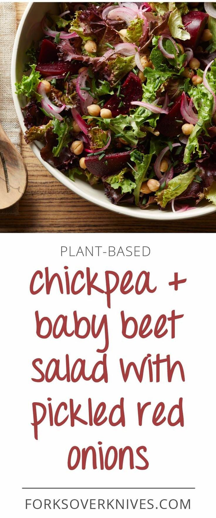 Chickpea and baby beet salad with pickled red onions