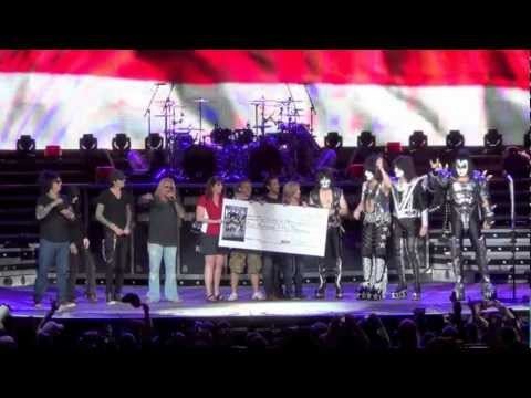 KISS and Motley Crue presented and signed a check for 250,000 dollars to the Hiring Our Heroes foundation on July 19th right before KISS played a free concert for 3,000 Vets and Warriors.
