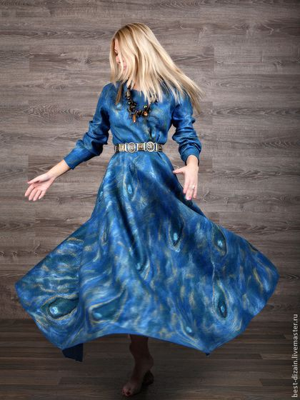 """Платье """"Для Елены"""" - синий,павлин,валяное платье,платье валяное,вечернее платье в пол"""