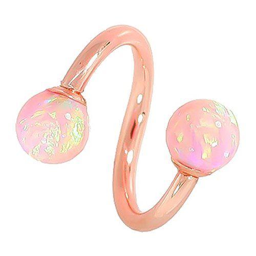 14 Gauge - Light Pink Opal Solid 14kt Rose Gold Twister / Spiral Barbell - 5mm Opal - http://www.loveuniquerings.com/lip-rings/14-gauge-light-pink-opal-solid-14kt-rose-gold-twister-spiral-barbell-5mm-opal/