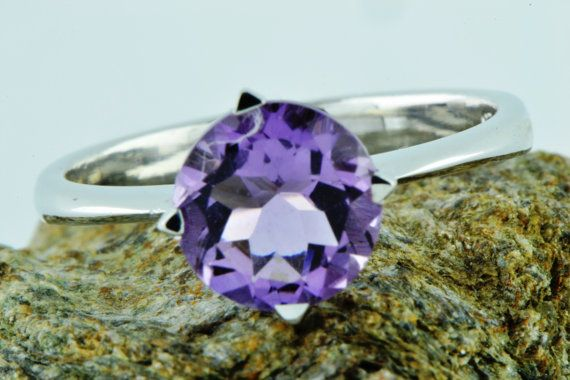 Natural Earth Mined Purple Amethyst Ring by LuckyGirlAtelier