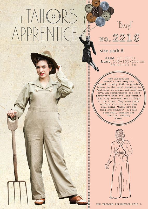Australian land army women overalls sewing by StitchingUpHistory, $9.95