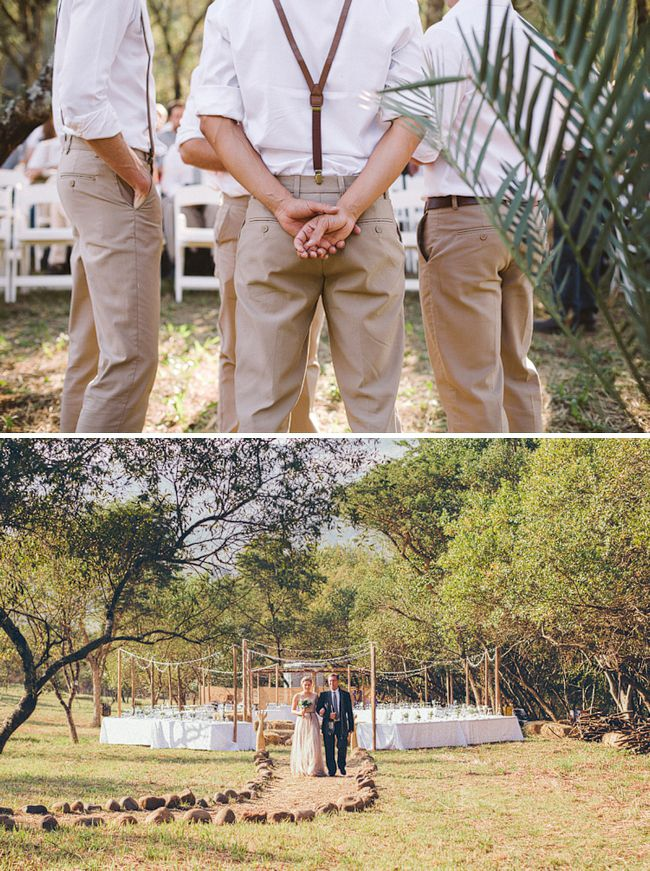Love the brown pants (in gray) for the groomsmen - perfect for an outdoor wedding
