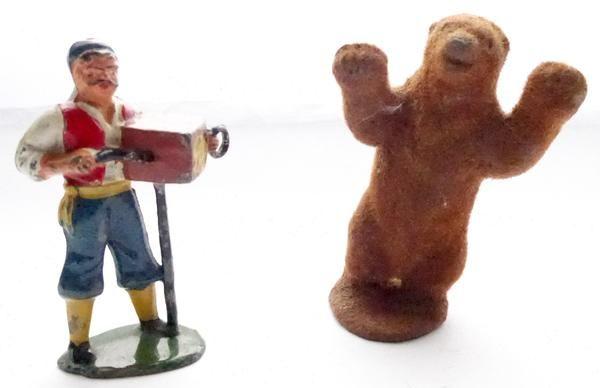 Timpo gypsy organ grinder and rare flocked dancing bear
