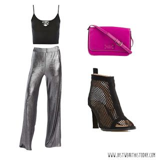 1/20/18 Just Wear This Today Metallic Palazzo Pants Black Crop Top Cage Booties Pink Kate Spade Purse Outfit