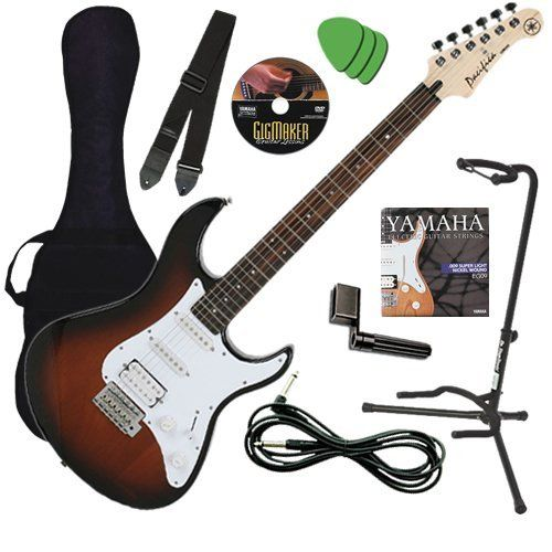 Yamaha PAC112J Sunburst Guitar BUNDLE w/ Gig Bag, Strap, Stand & DVD by Yamaha. $209.99. Yamaha Electric Guitar BUNDLE including the Yamaha Pacifica PAC112J Electric Guitar in Old Violin Sunburst Finish, Gig Bag, Instrument Cable, Guitar Strap, Guitar Stand, Extra Strings, String Winder, Instructional DVD, and Guitar Picks. One of the best electric guitar values for over a decade, Yamaha Pacifica guitars are well known for great tone and outstanding playability. The P...