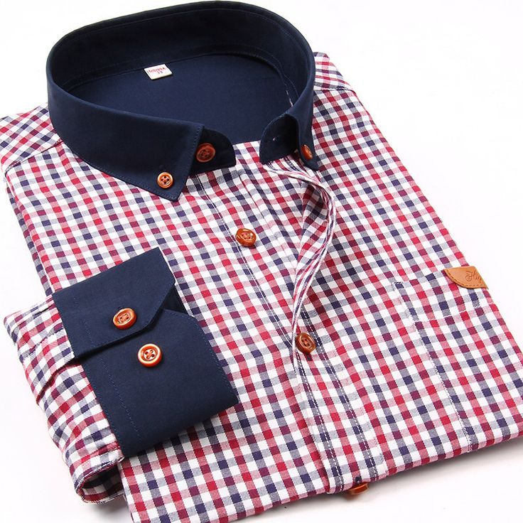 2015 New Plaid men casual shirts patchwork long sleeve mens shirts brand quality slim fit cotton dress shirts male free shipping