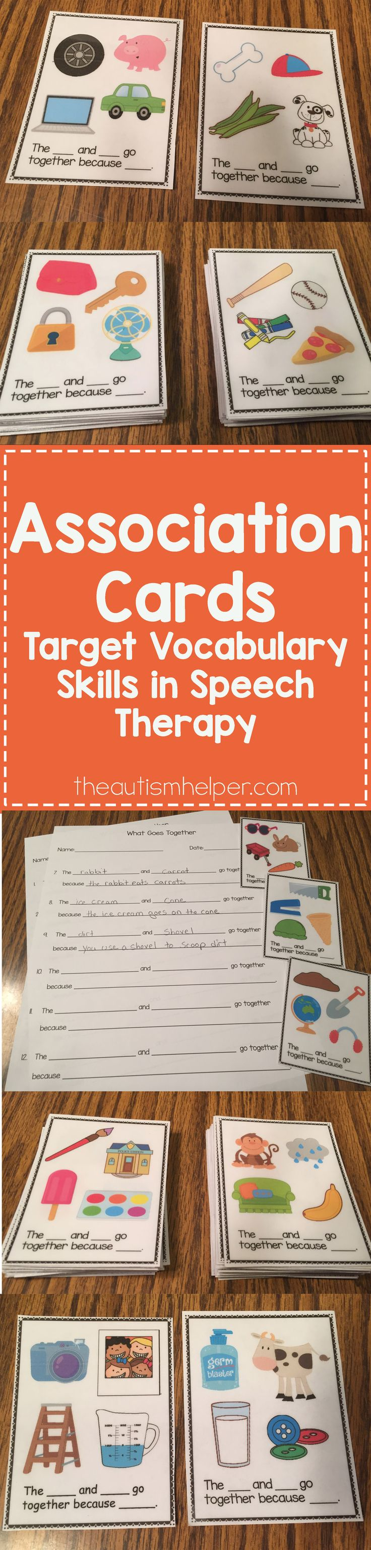 Sarah the Speech Helper created Association Cards to target vocabulary skills! They require students to identify which 2 items from a group of 4 have a relationship & why. Check them out today!! From theautismhelper.com #theautismhelper