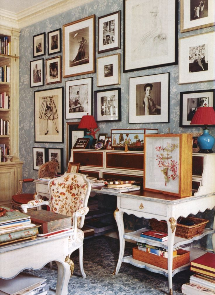 Courtesy Of Cote De Texas Another View The Study Home Office Charlotte Moss In Her Upper East Side Townhouse On Wall Appear To Be Photos