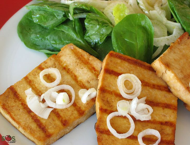 """SOSCuisine: #Tofu Steaks Tofu """"steaks"""" marinated in a soy-ginger sauce, then pan-fried and served with a fennel-spinach salad."""