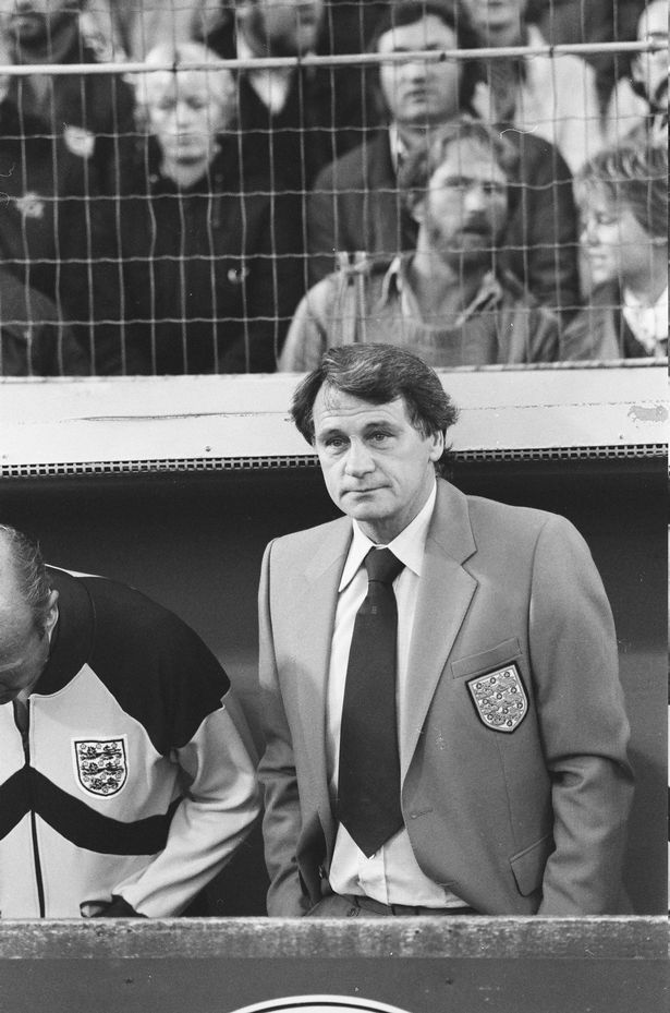 European Championships Qualifier in Copenhagen. Denmark 2 v England 2. England manager Bobby Robson watches the action from the dugout. 22nd September 1982.