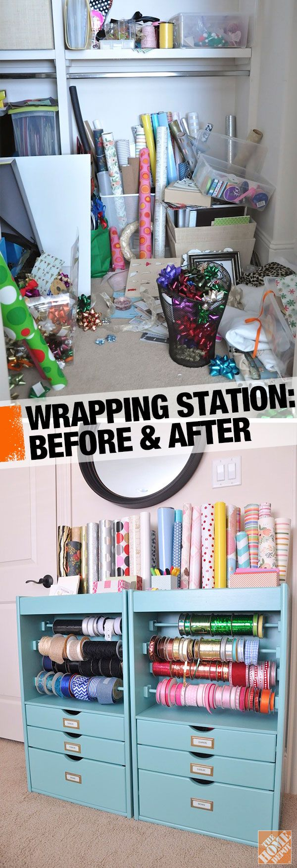 Before and after: From messy and unorganized to color-coded! An orderly gift wrapping station makes wrapping gifts a pleasure.