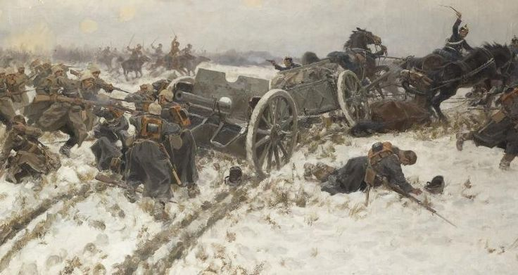 Militär Zusammenstoß von Ivan Vladimirov (1869-1947, Lithuania)