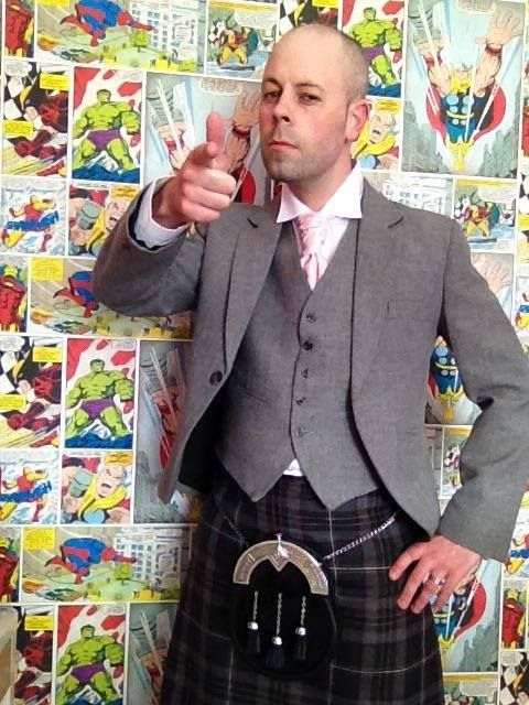 Andy McGill is pictured here wearing our exclusive Lomond tweed jacket and waistcoat and Lomond Mist kilt. He was an usher at his friend's wedding.