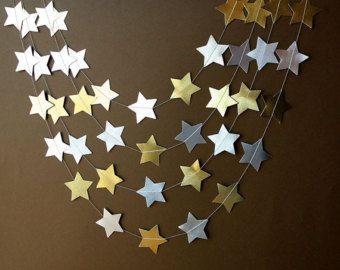 Silver gold garland, Gold star garland, Silver star garland, Metallic garland, Paper garland,Party decor, Christmas decor, M-ES-OYP0001