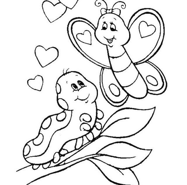 - Caterpillar Meeting Butterfly Coloring Sheet Printable Valentines Coloring  Pages, Valentine Coloring Pages, Monkey Coloring Pages