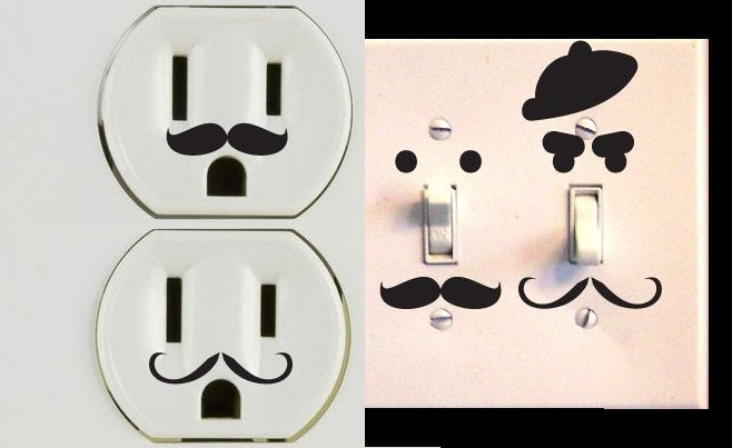 Vinyl Mustache Decor Set of 30 for Wall Outlets Lightswitches via Etsy.