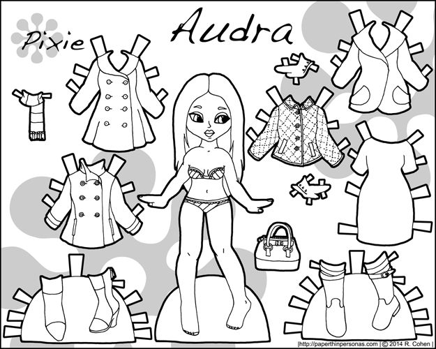 Audra, a printable paper doll with a fashionable wardrobe of coats in black and white for coloring