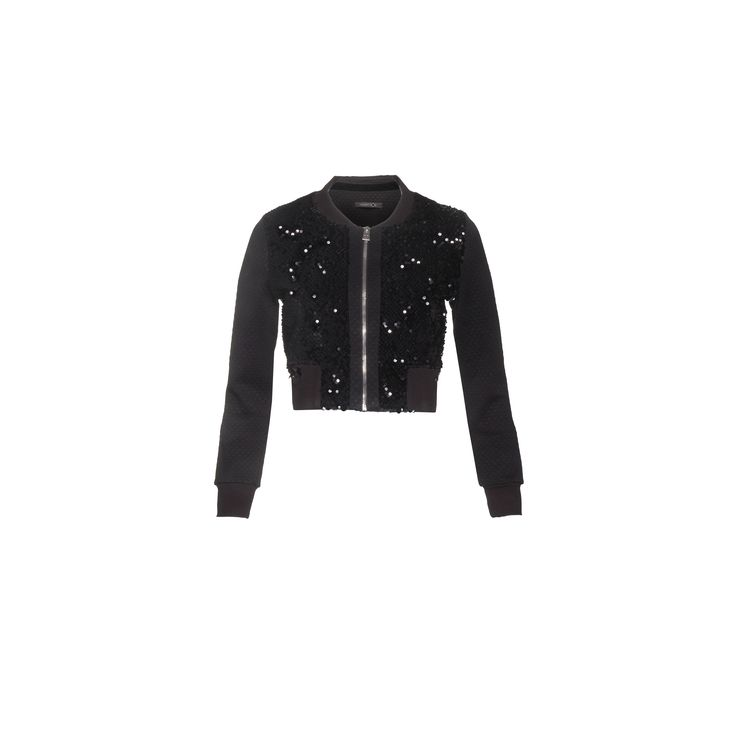 Naughty Dog #FW1415 black cardigan decorated with paillettes.