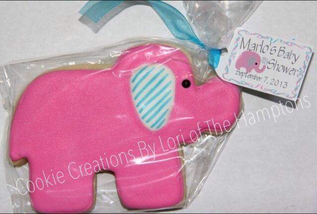 Pink elephant cookie favors