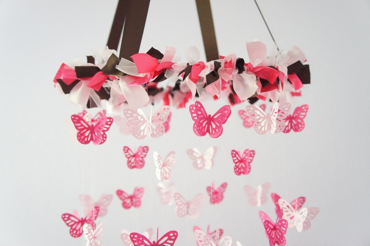 Butterfly Mobile in Pink & Chocolate- Crib Mobile, Photography Prop,  Baby Shower Gift. $63.00, via Etsy.