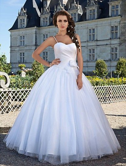 Beautiful Ball Gown Sweetheart Floor-length Tulle Criss Cross #Wedding Dress WBG08660-LT