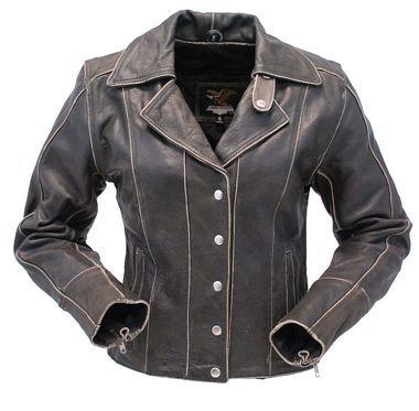 Form Flattering Vintage Leather Motorcycle Jacket for Women