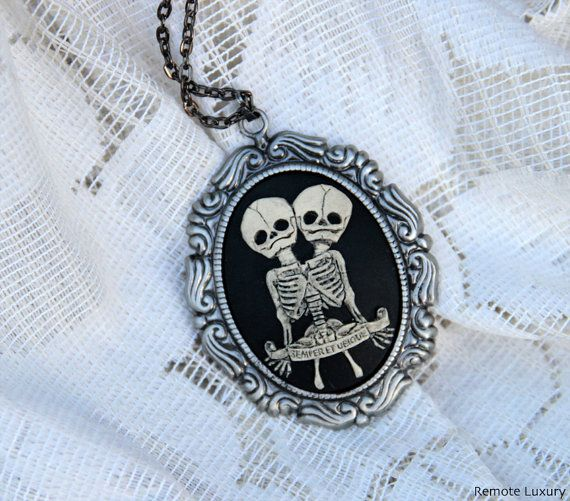 Conjoined Twins Cameo necklace, Steampunk Victorian Gothic ...