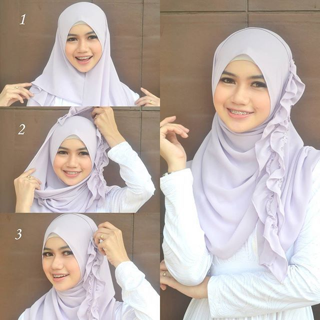 This a beautiful hijab with ruffles all over the side, they add a cute touch to the hijab and you can style them differently with the same hijab. This hijab style can be made in 1 minutes following 3 steps…