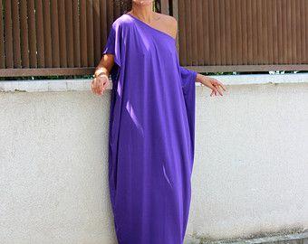 Purple Maxi dress Caftan Long sleeve dress by cherryblossomsdress